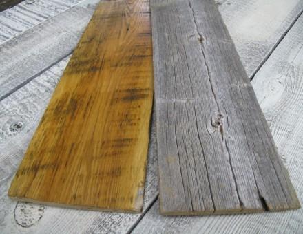 不燃古材の表面を加工 (左、サンディング加工+OSクリア塗装) (国土交通大臣認定 不燃材料認定番号 NM-0750)
