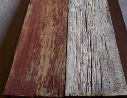 左:バーンレッド仕上 右:バーンホワイト仕上 (ミルクペイント塗装仕上品)
