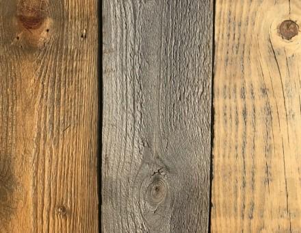不燃古材Fence Wood 左(サンディング加工) 右(ホイルサンダー加工) 中心のグレイは無加工品 (国土交通大臣認定 不燃材料認定番号 NM-0750)
