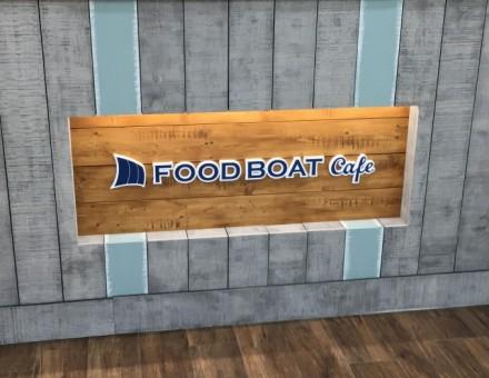 ヒストリーパイン(グレイ)とミルクペイント5-9、 サインベース(ラスティックパイン)(FOOD BOAT Cafe カウンター腰壁)